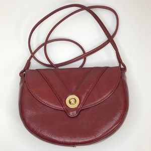 Perlina red leather crossbody bag, gold hardware